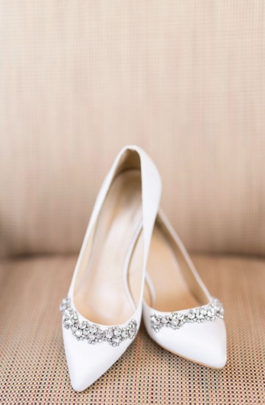 white pointed embellished flats for an elegant and sparkly touch