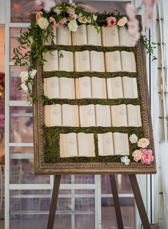 a framed moss wall with lush blooms and greenery and vintage books where you can see the places