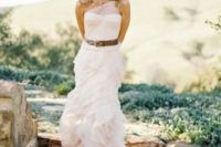 17 a lovely blush wedding gown accented with a brown leather belt for a light rustic feel