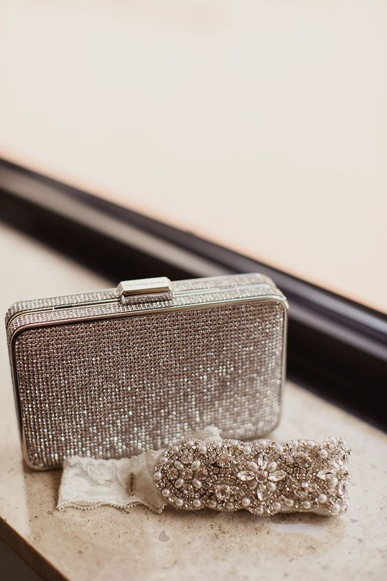 a silver sequin box clutch and matching jewelry for a glam sparkling touch