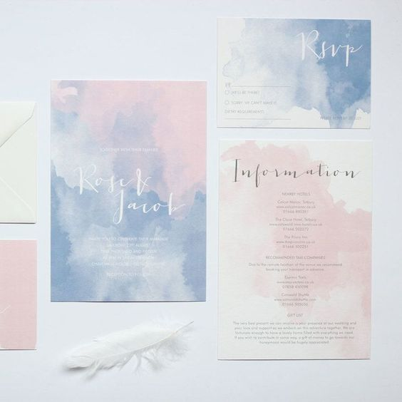 watercolor pink and blue wedding invitations with calligraphy for a summer wedding