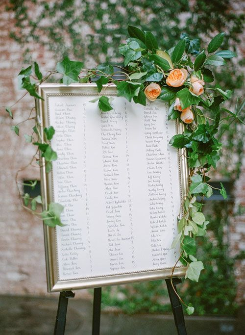 a framed seating chart with a very lush greenery garland and large blush blooms