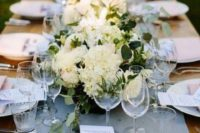 18 a powder blue wedding table runner, light pink napkins and neutral blooms for a chic look