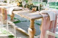 19 a dusty pink table runner shows a traditional pastel shade, which is great for spring