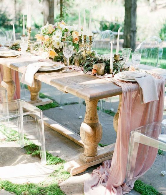 a dusty pink table runner shows a traditional pastel shade, which is great for spring