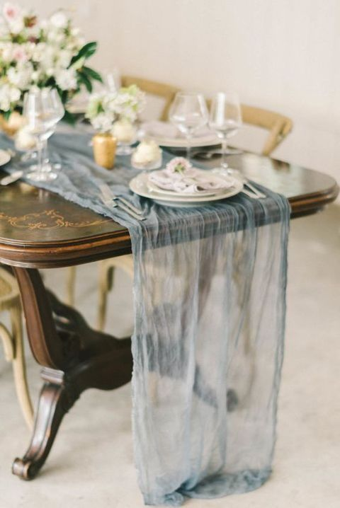 Picture Of An Ethereal Dusty Blue Wedding Table Runner Adds Charm And  Beauty To The Table Setting
