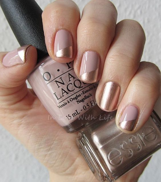 blush nails with metallic touches - color block and an accent nail