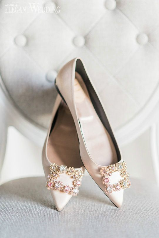 blush pointed bridal flats with embellished buckles by Manolo Blahnik