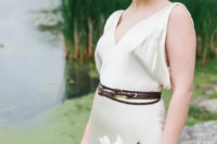23 add a trendy and unusual touch to your bbridal look with a thin brown belt wrapped several times around the waist