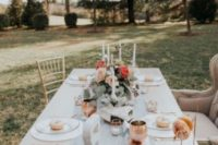 24 an ethereal dusty blue wedding table runner adds freshness to the table setting
