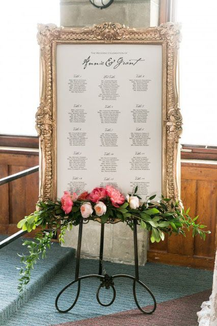 an elegant seating chart in a refined vintage frame and with a floral posie and greenery