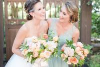 26 a mint wide strap bridesmaid dress and a peachy pink bouquet