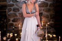 26 a wide strap silver sequin wedding dress with a layered lavender-colored skirt for a unique bridal look