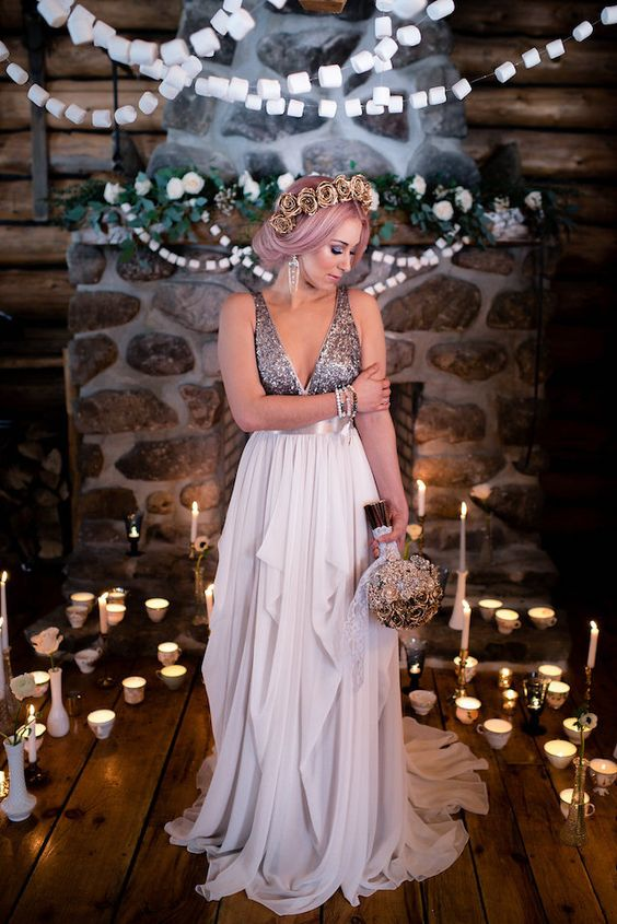 a wide strap silver sequin wedding dress with a layered lavender-colored skirt for a unique bridal look