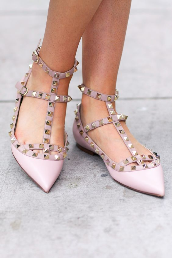dusty pink spiked flats with straps look wow and really non-traditional