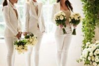 gorgeous creamy pantsuits with lace tops, white ankle strap heels and ties