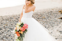 27 Hailey Paige wedding gown with a lace bodice on spaghetti straps and a layered A-line tulle skirt