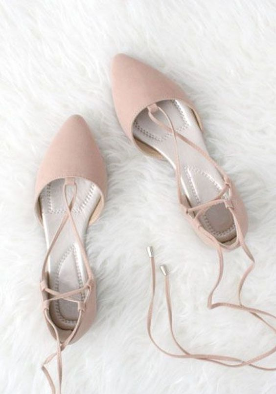 dusty pink strappy lace up flats look very cute and are comfy to wear