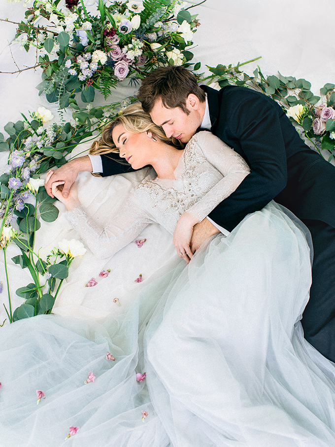This beautiful wedding shoot was inspired by both winter and spring, and the stylists incorporated colors that are characteristic for both seasons