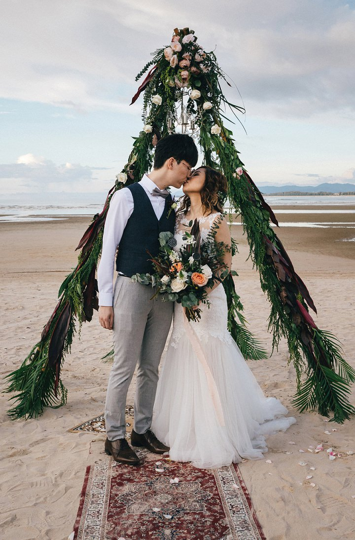 This couple from Hong Kong decided to escape to a Thai beach for a destination wedding with a touch of glam and boho