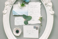 02 The wedding invitation suite was done in blue watercolors and have a look at this refined white frame