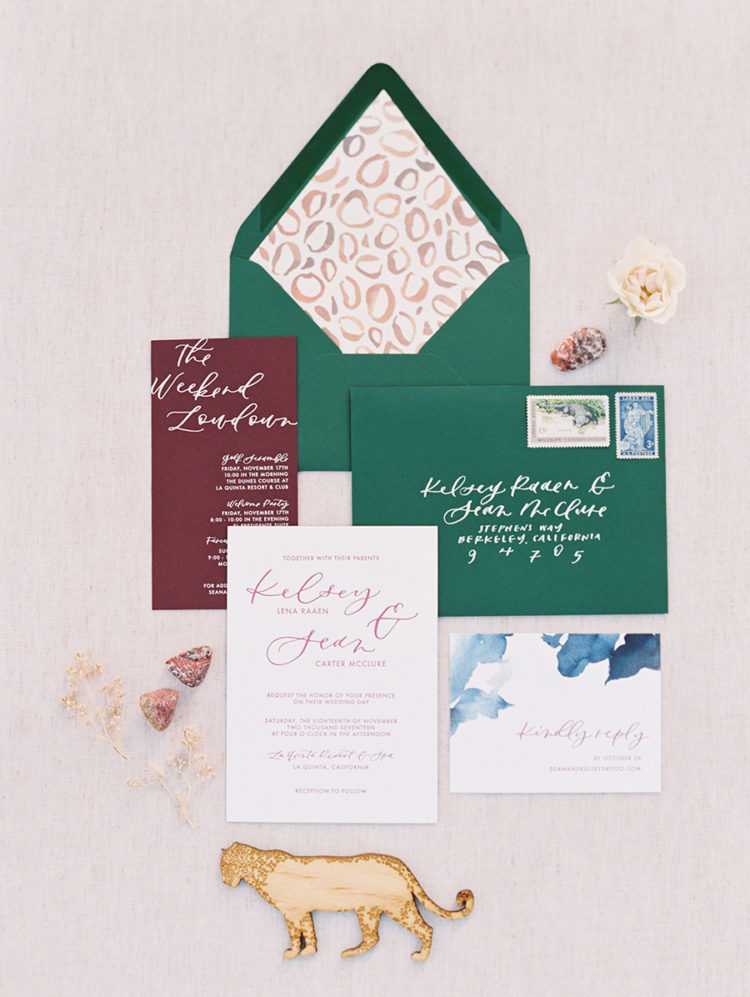 The wedding stationery was done in emerald and burgundy with a cheetah print to highlight the boho feel