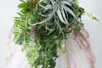 02 a chic cascading greenery wedding bouquet with a large air plant on top to stand out