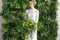 02 a living wall backdrop and a matching bridal bouquet to bring an outdoor feel indoors