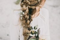 02 a very dimensional and textural braid made of two side ones with fresh flowers
