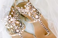 02 heavily embellished gladiator sandals are nice for a beach wedding or just for comfortable wearing