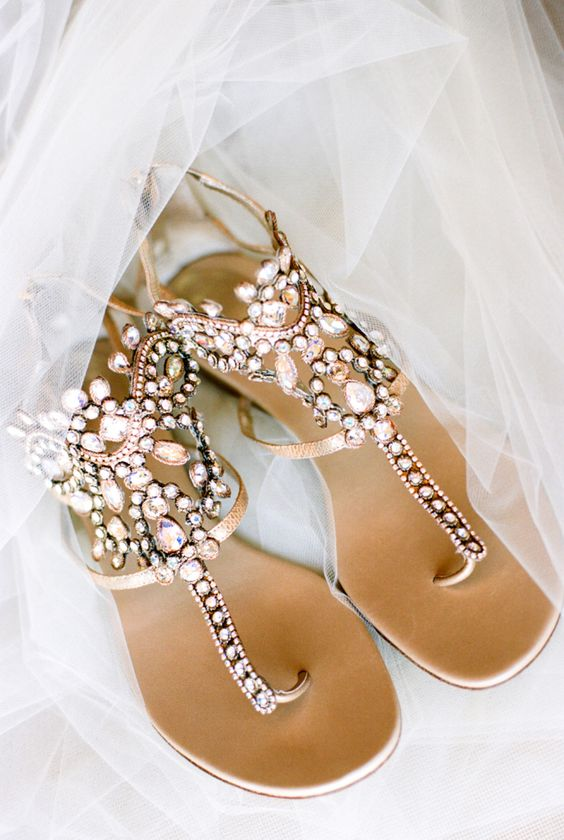 heavily embellished gladiator sandals are nice for a beach wedding or just for comfortable wearing