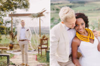 03 The groom was wearing a cream jacket, sand-colored pants, a bow tie and some leather accessories