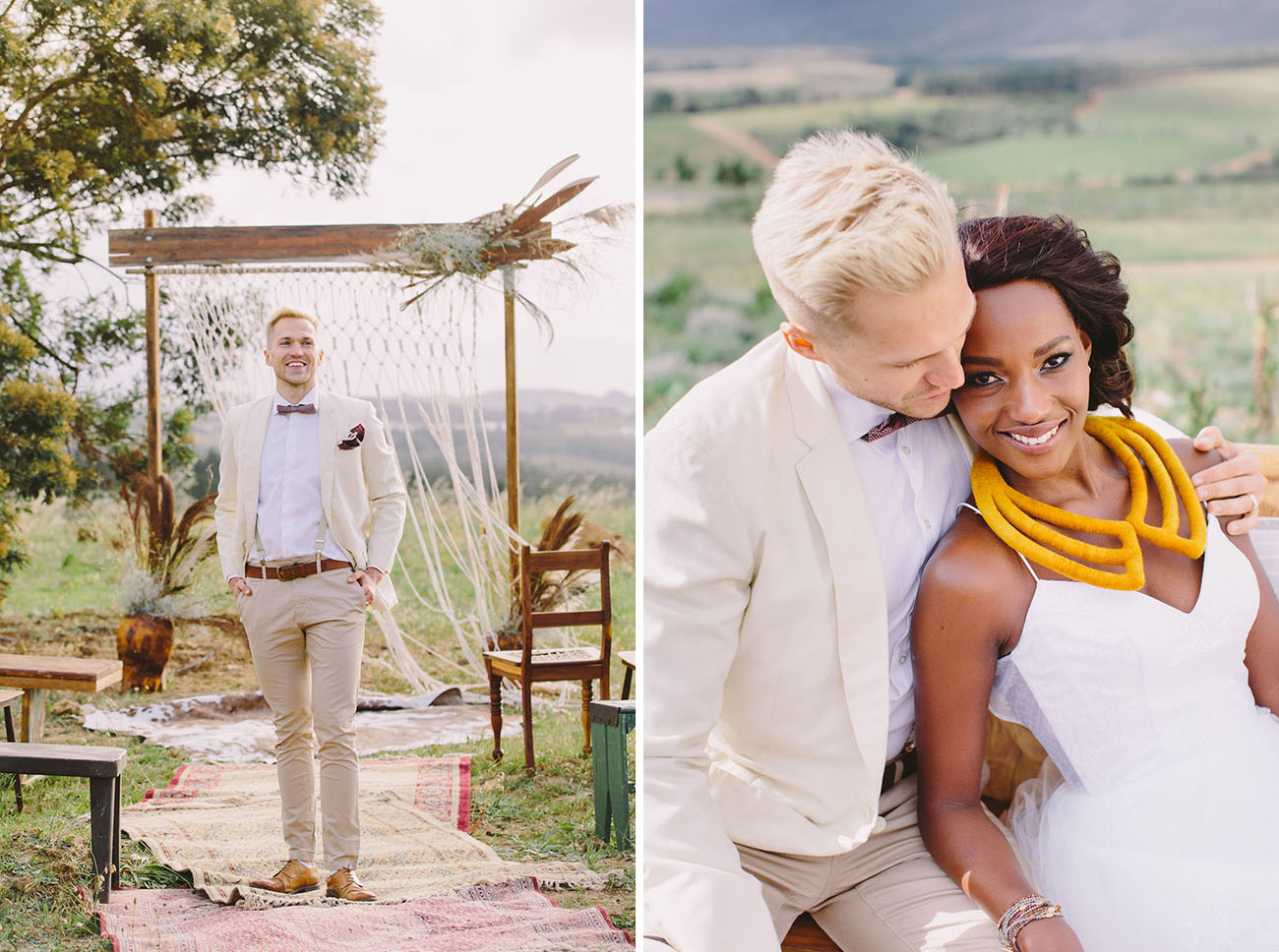 The groom was wearing a cream jacket, sand colored pants, a bow tie and some leather accessories