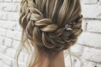 03 a braided updo with some locks down is ideal for a boho chic or just relaxed outfit