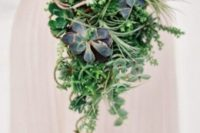03 a cascading bouquet with greenery, succulents of various kinds and some vines for a unique look