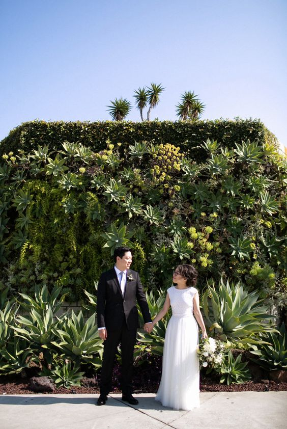 a gorgeous greenery living wall backdrop with succulents, moss, leaves and air plants plus large succulents at the base