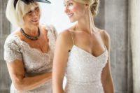 gorgeous spaghetti strap wedding gown