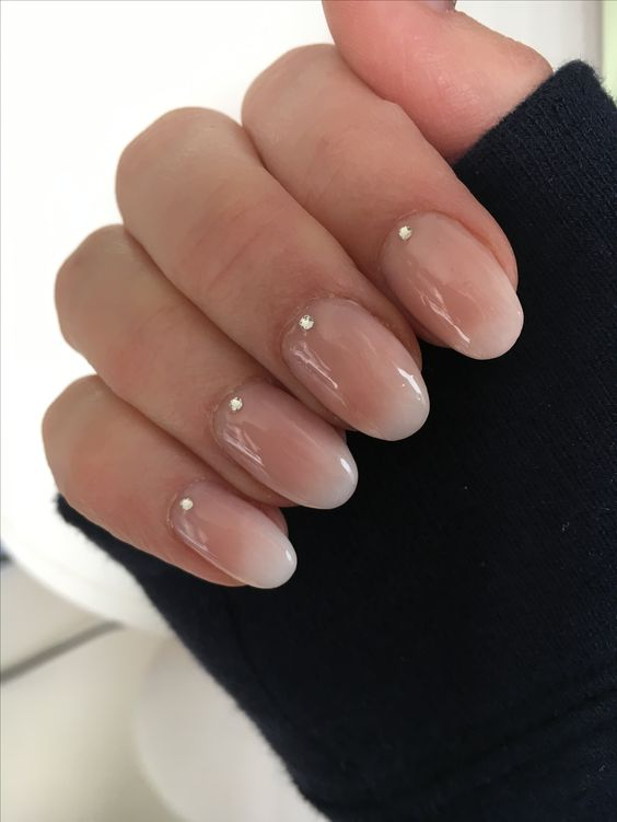 ombre French nails with little rhinestones is a chic and modern idea for an edgy bride