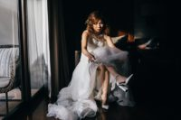 04 The bride was wearing a gorgeous lace mermaid dress with an illusion neckline and back and white ankle strap shoes
