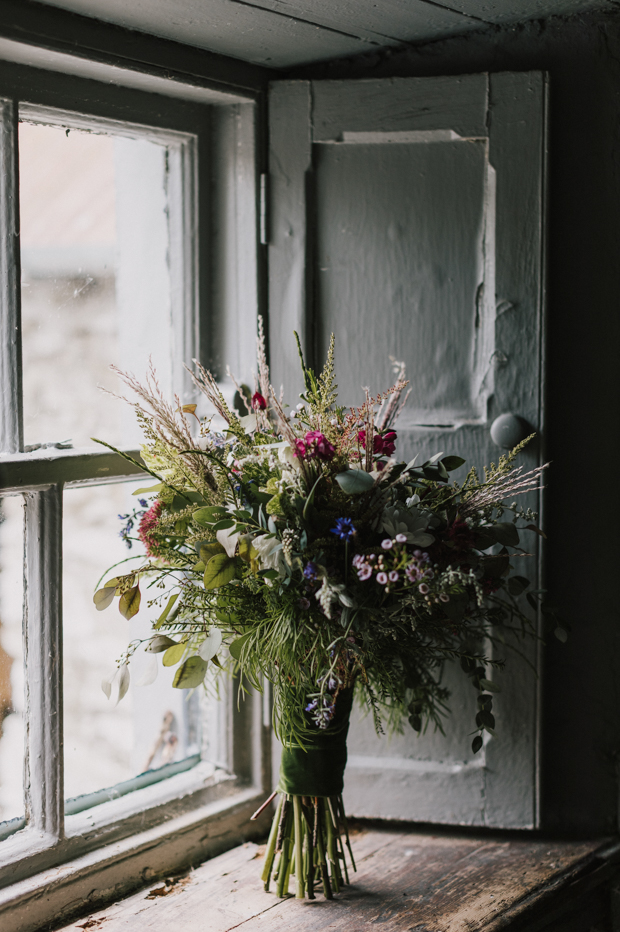 The wedding bouquet was a wild one, with plenty of texture and dimension and wildflowers