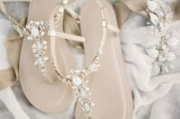 04 delicate embellished flat sandals are nice for wearing at a beach or in the garden