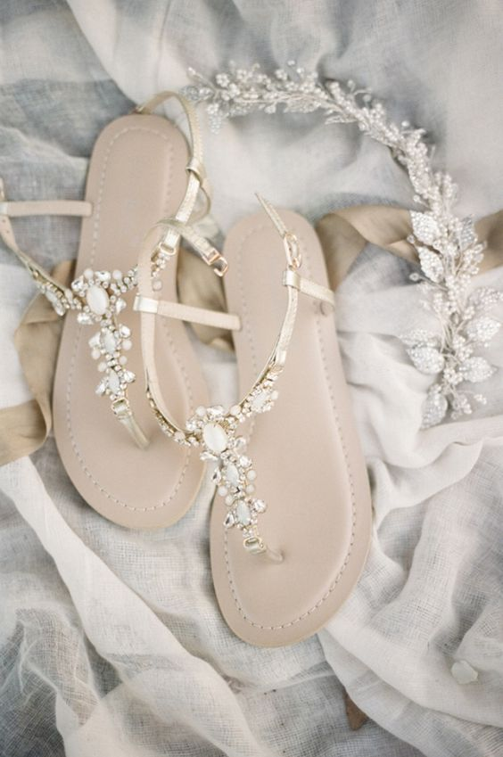 delicate embellished flat sandals are nice for wearing at a beach or in the garden