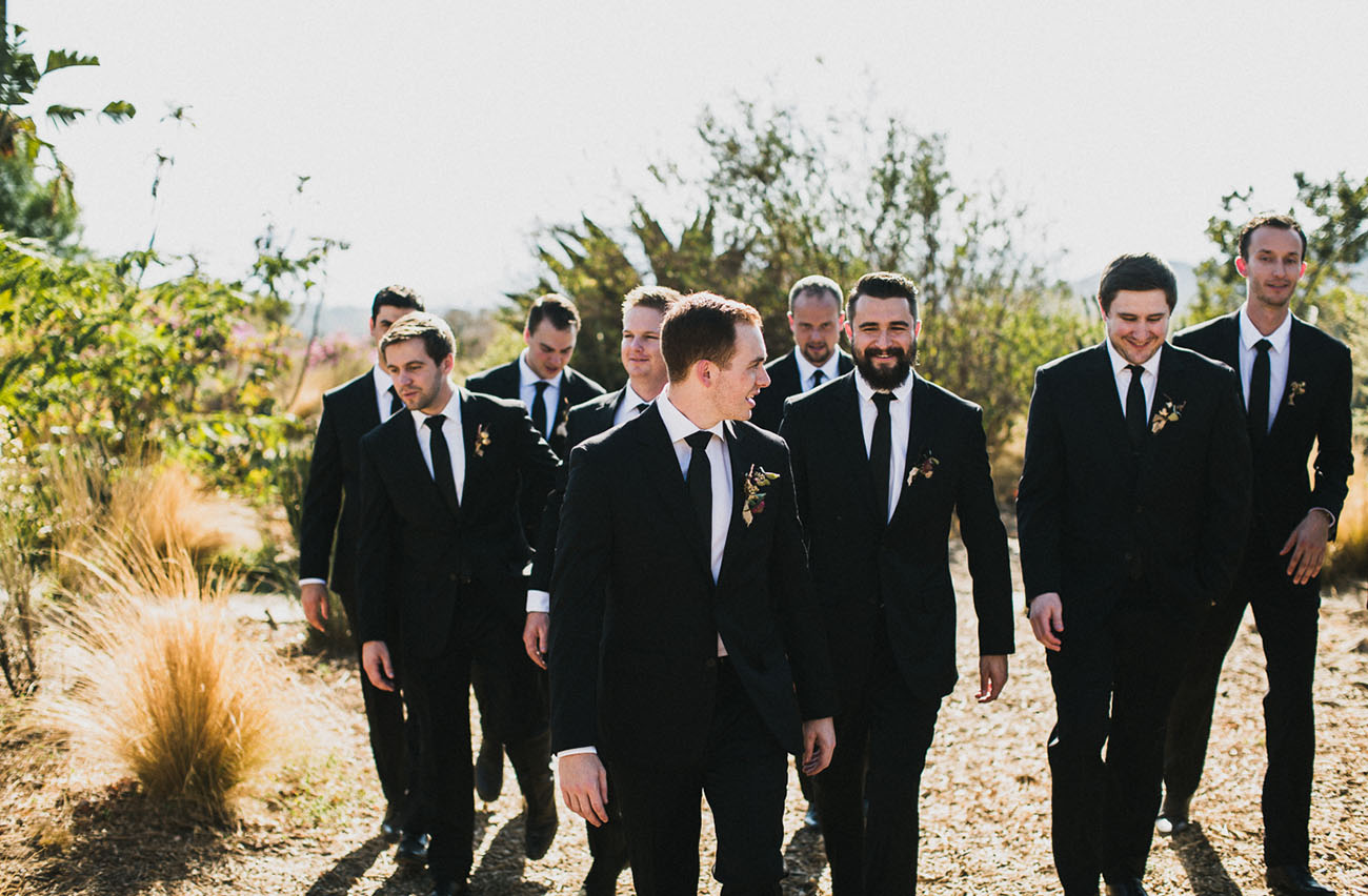 All the guys were wearing black suits with black ties for a classic feel