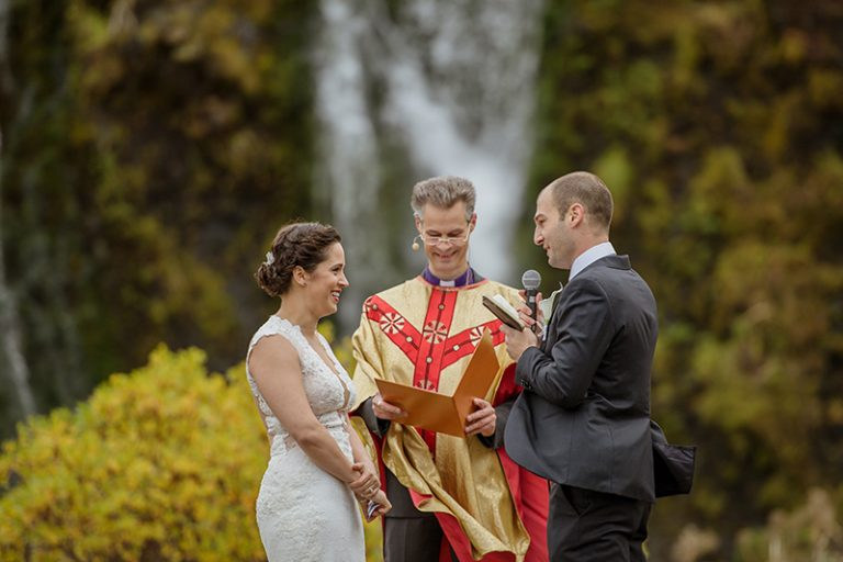 The ceremony took place in front of a waterfall