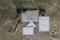 05 The wedding invitation suite was done in the shades of gre and with dark calligraphy
