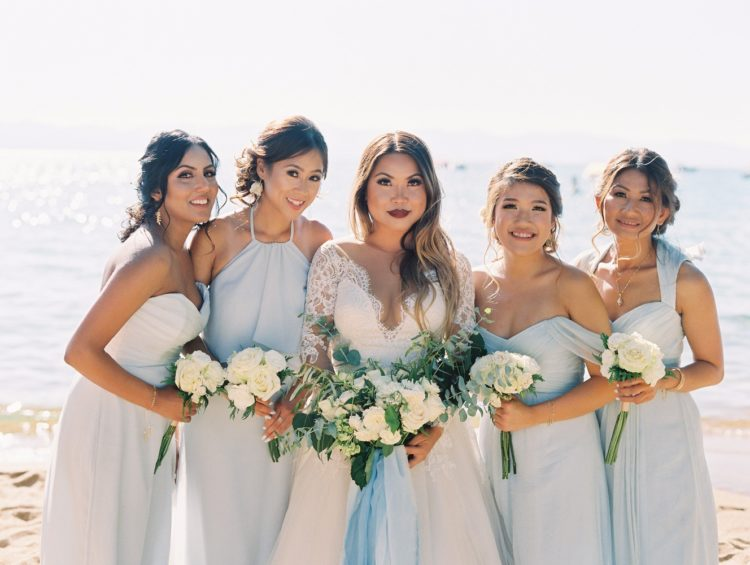 elegant mismatching off-white gowns and a strapless white one for the maid of honor