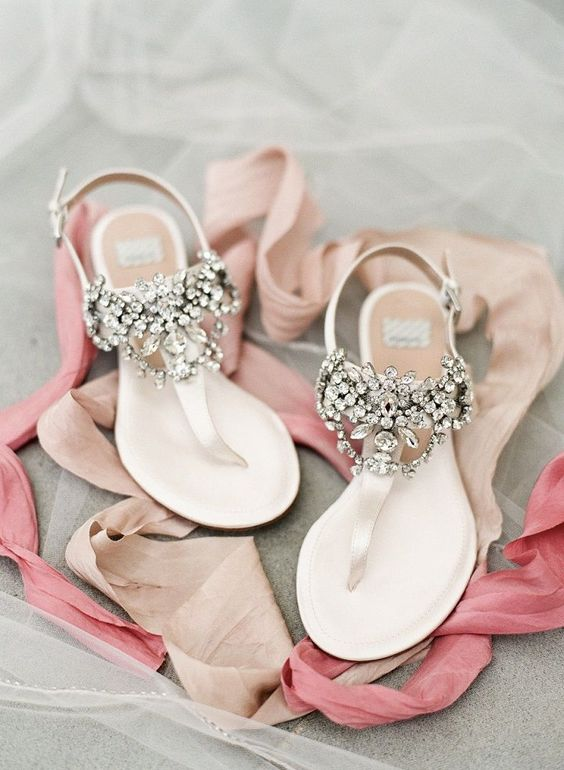 jeweled flat sandals are amazing for wearing for a summer wedding not to get hot