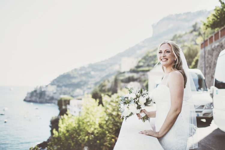 Her bouquet was of greenery and white blooms for an elegant and timeless feel