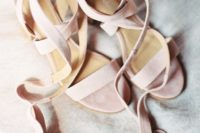 06 blush suede strappy sandals with fringed trim are a girlish option and you may wear them afterwards