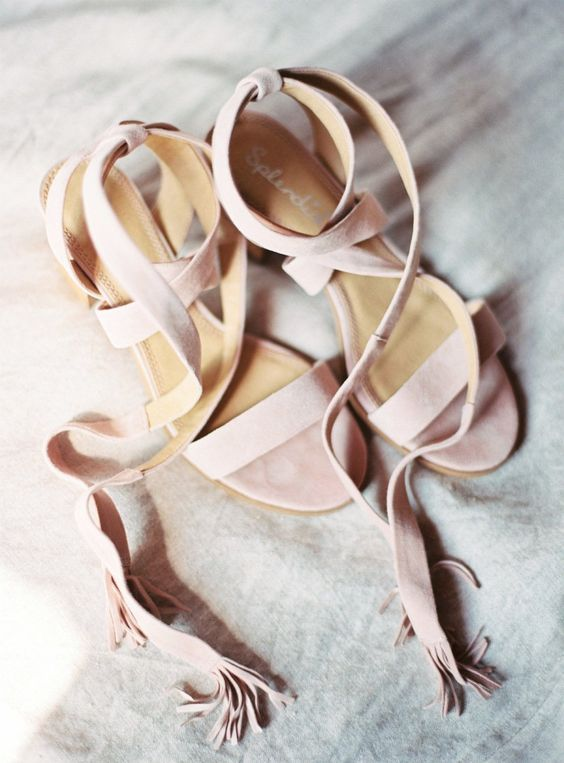 blush suede strappy sandals with fringed trim are a girlish option and you may wear them afterwards